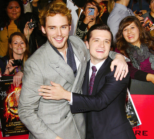 sam claflin and josh hutcherson at catching fire premiere
