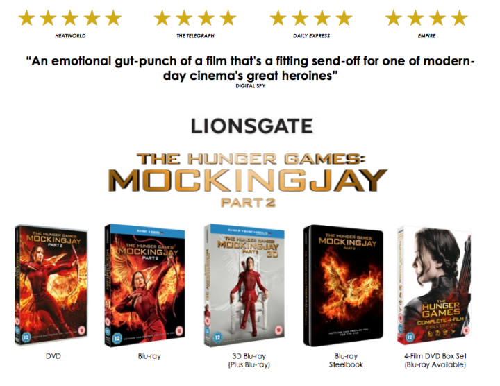 UK Mockingjay Part 2 Home Video Release